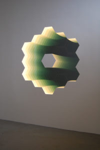 """Through the Looking Glass (James Webb Telescope Mirror) (2011) Two-way Mirror, Mirror, Wood, LED Lights, 72"""" x 72"""" x 3.5"""""""