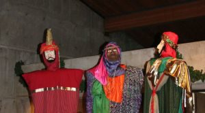 Magi puppets, carried in procession on Epiphany, are approximately 10' high and were made by parishioners.